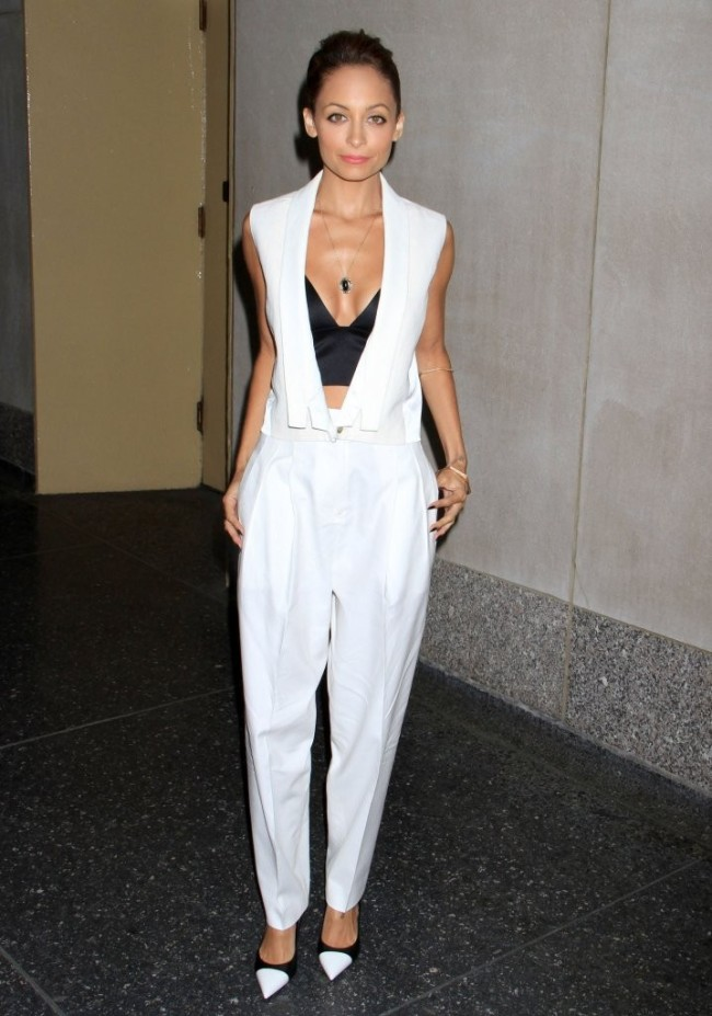 nicole-richie-the-today-show-j-brand-spring-2013-vest-white-trousers-alexander-wang-satin-bra-top-saint-laurent-leather-cap-toe-pumps-1